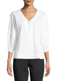 DKNY Balloon-Sleeve Zip-Front Blouse