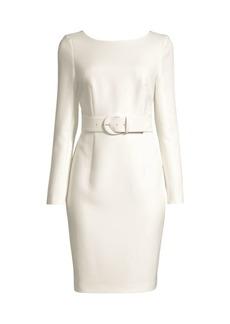 DKNY Belted Long-Sleeve Sheath Dress