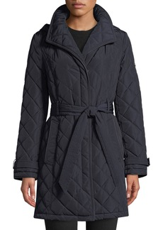 DKNY Belted Quilted Long-Jacket