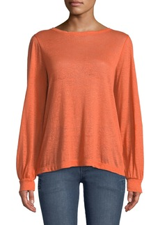 DKNY Boat-Neck Long-Sleeve Linen Pullover Top