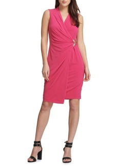 DKNY Buckled Faux-Wrap Dress