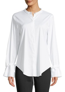 DKNY Button-Down Flare-Sleeve Blouse