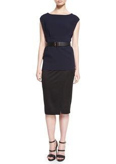 DKNY Cap-Sleeve Colorblock Belted Tunic Dress