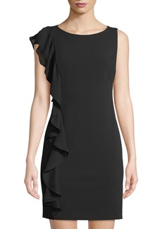DKNY Cascading Ruffle Sleeveless Sheath Dress