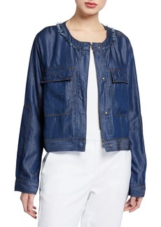 DKNY Chambray Snap-Front Top