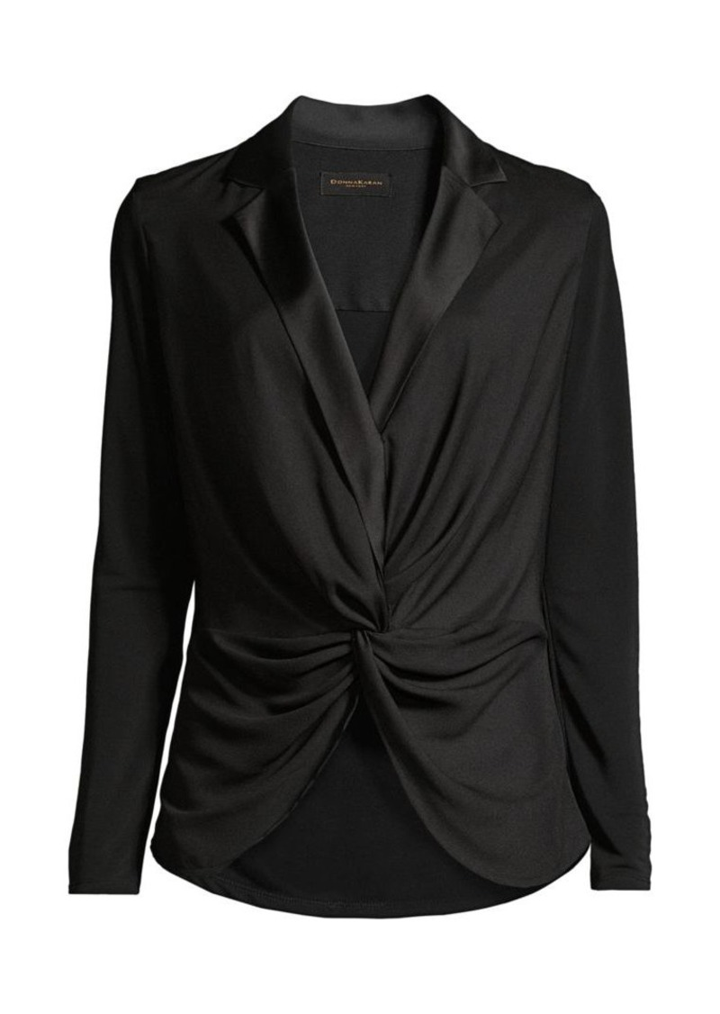 DKNY Charmeuse Satin Draped Blouse