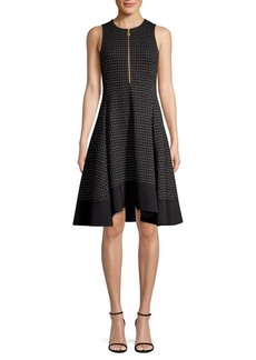 DKNY Check Fit-&-Flare Dress