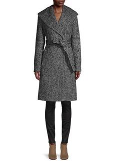 DKNY Chevron Shawl-Collar Coat
