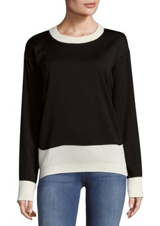 DKNY Chunky Merino Wool Open Cable Sweater