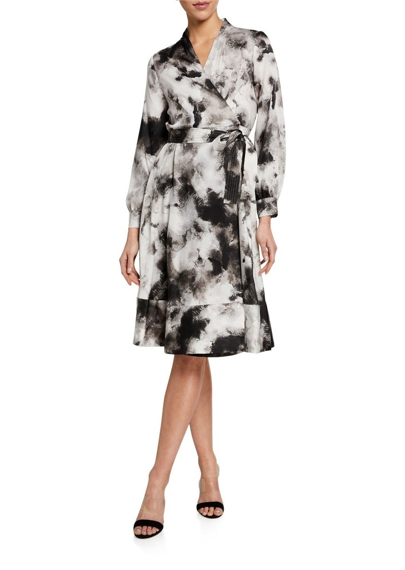 DKNY Cloud Print Wrap Dress