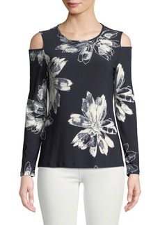 DKNY Cold-Shoulder Floral Tee