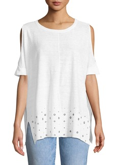 DKNY Cold-Shoulder Grommet-Hem Top