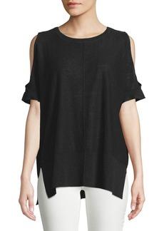 DKNY Cold-Shoulder Linen Sweater