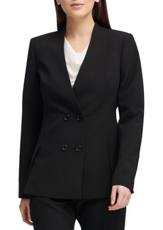 DKNY Collarless Double-Breasted Blazer