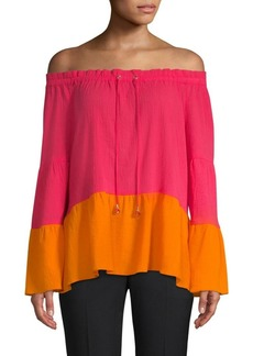 DKNY Colorblock Drawstring Blouse