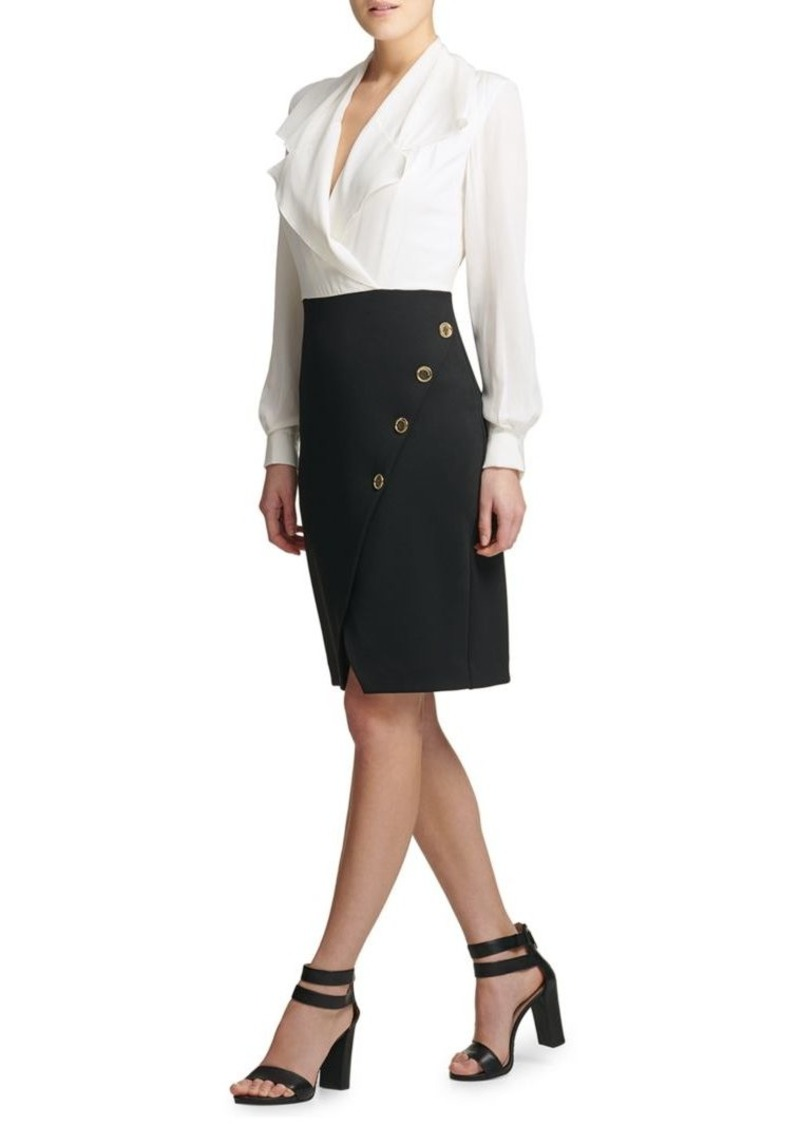 DKNY Contrast Combo Flounce Sheath Dress