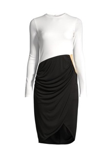 DKNY Contrast Draped Front Dress