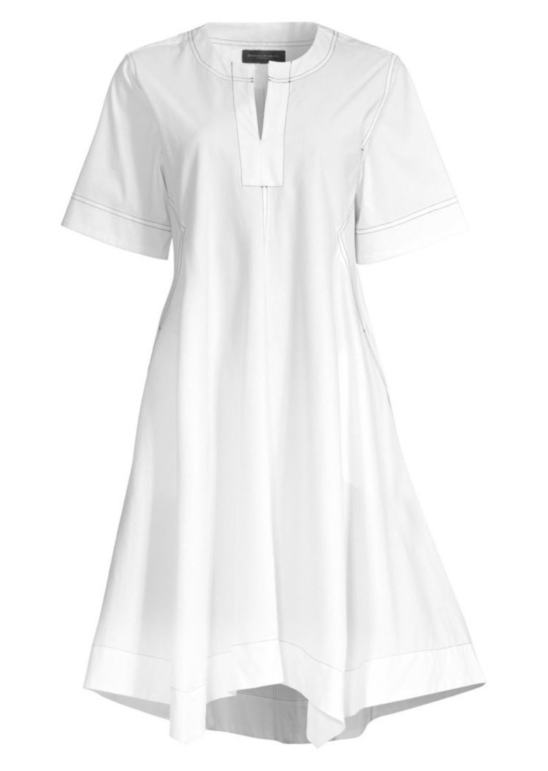 DKNY Contrast Stitched V-Neck Trapeze Dress