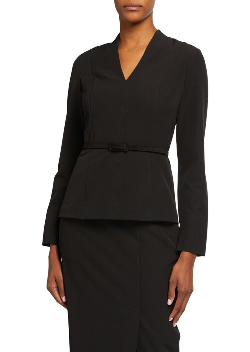 DKNY Crepe Long Sleeve Belted Top