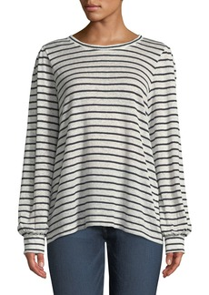 DKNY Crewneck Long-Sleeve Striped Linen-Cotton Top