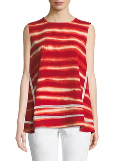DKNY Crewneck Sleeveless Artisan-Striped Top w/ Ladder-Stitching
