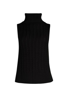 DKNY Crop Sleeveless Turtleneck Sweater