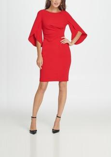 Dkny 3/4 Tulip Sleeve Side Ruche Sheath Dress