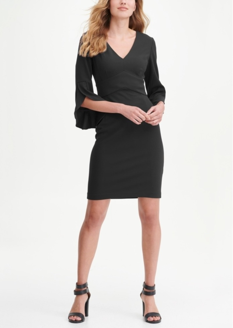 Dkny 3/4 Tulip Sleep V-Neck Sheath Dress