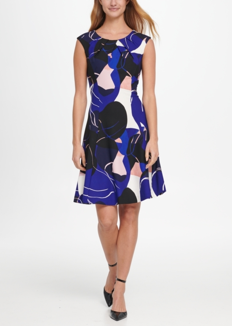 Dkny Abstract Print Pleat Neck Fit & Flare Dress