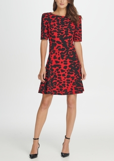 Dkny Animal Print 3/4 Sleeve A-Line Dress