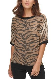 Dkny Animal-Print Short-Sleeve Sweater