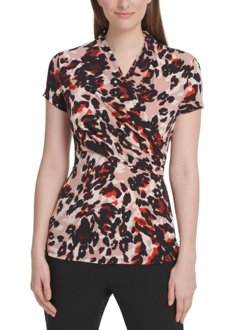 Dkny Animal-Print Stretch Wrap Blouse