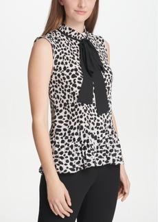 Dkny Animal-Print Tie-Neck Top