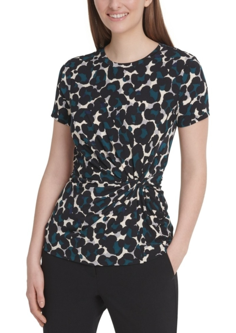 Dkny Animal Printed Side-Knot Top