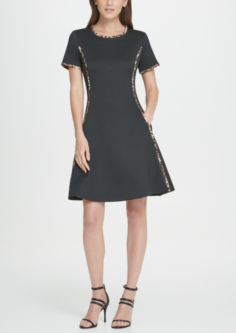 Dkny Animal Trim Scuba Fit Flare Dress