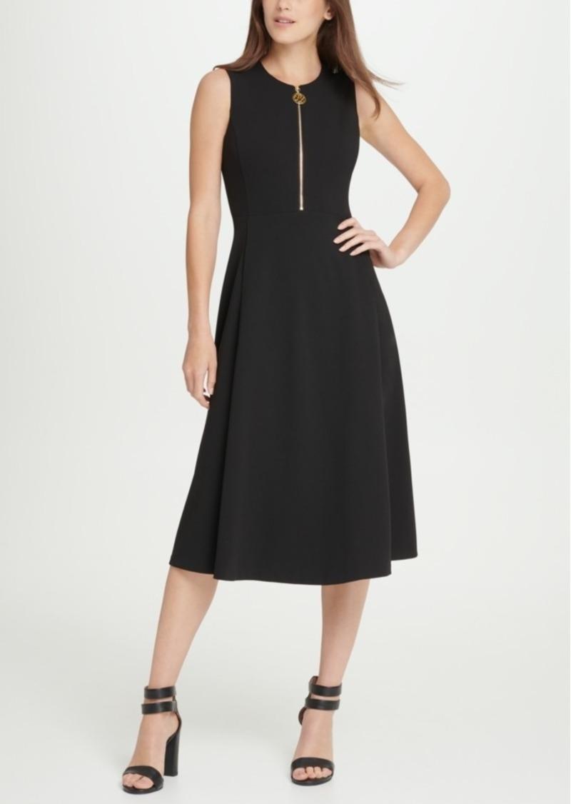 Dkny Animal Zipper Midi Dress