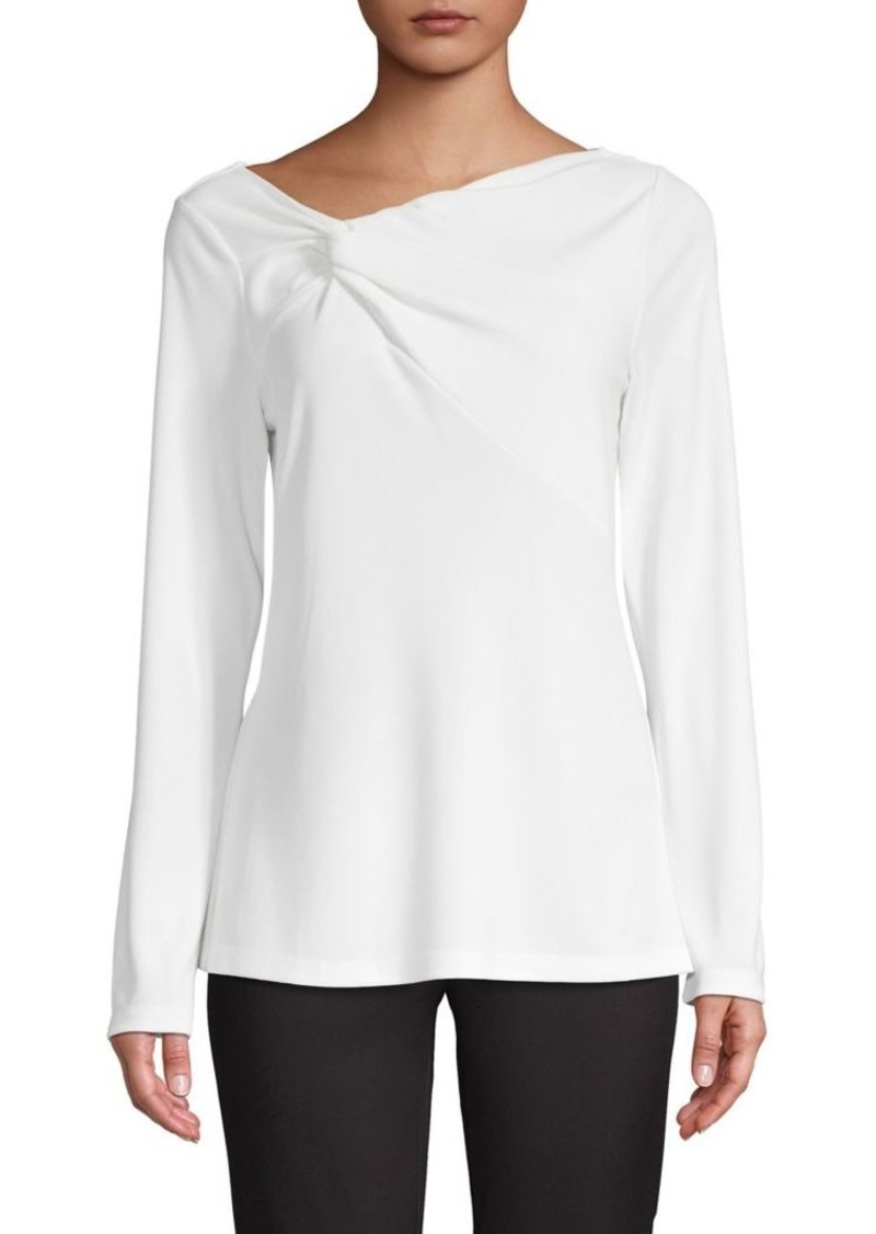 DKNY Donna Karan Asymmetric V-Neck Long-Sleeve Top