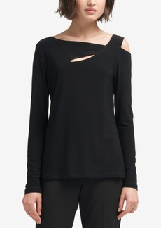 Dkny Asymmetrical Cold-Shoulder Top, Created for Macy's