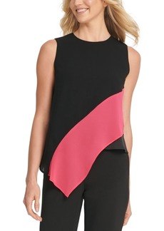 Dkny Asymmetrical Colorblocked Top