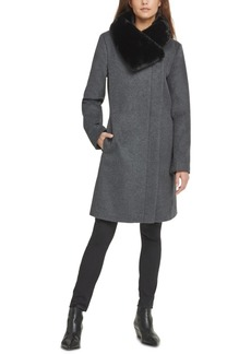 Dkny Asymmetrical Faux-Fur-Collar Coat