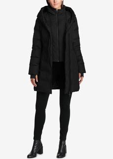 Dkny Asymmetrical Faux-Leather-Trim Puffer Coat