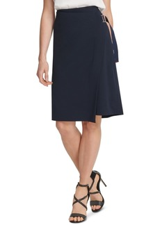 Dkny Asymmetrical Faux-Wrap Skirt
