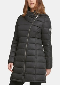 Dkny Asymmetrical Hooded Packable Down Puffer Coat