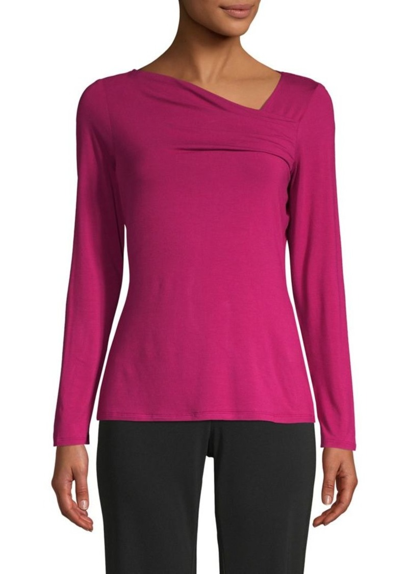 DKNY Donna Karan Asymmetrical-Neckline Jersey Top