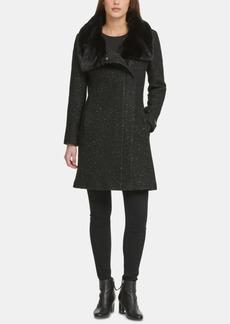 Dkny Petite Asymmetrical-Zip Faux-Fur-Collar Coat