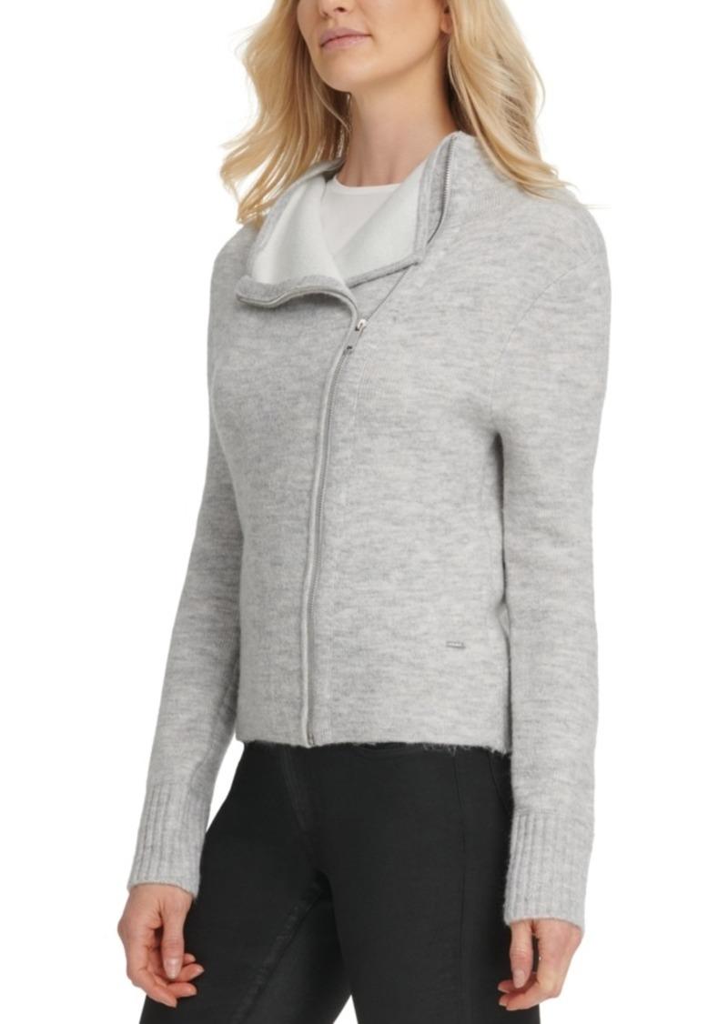 Dkny Asymmetrical Zip-Front Sweater