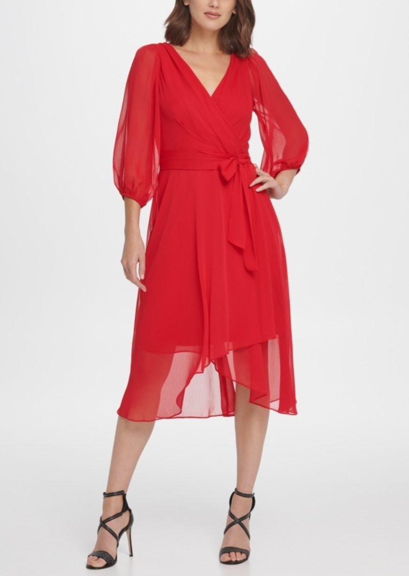 Dkny Balloon Sleeve Chiffon Midi Dress