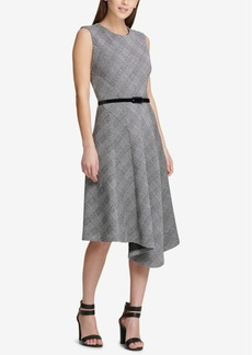 Dkny Belted Asymmetrical-Hem Dress, Created for Macy's