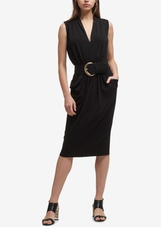 Dkny Belted Draped Jersey Dress, Created for Macy's