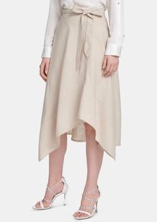Dkny Belted Draped Midi Skirt